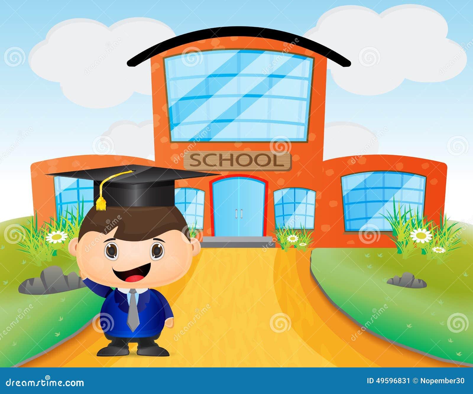Cute Kid Cartoon Wearing Graduation Hat