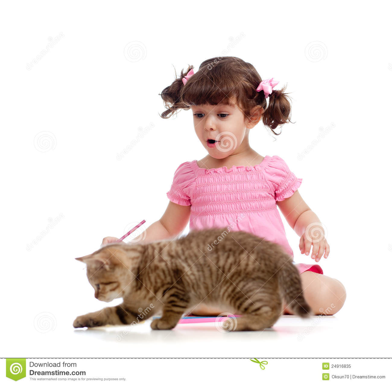Cute Kid And Cat Kitten Playing With Pencils Royalty Free