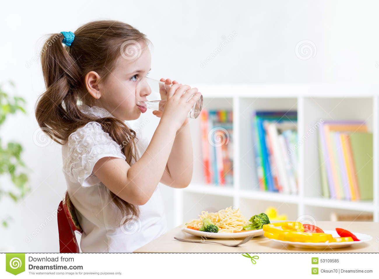 Home Drinking Water Cute Kid Girl Drinking Water In Home Stock Photo Image 53109585