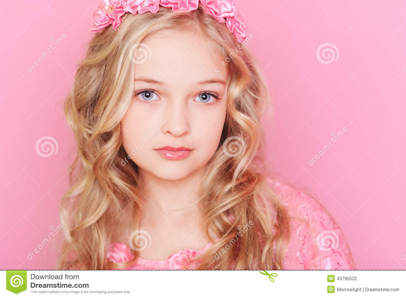 cute kid girl on pink stock photo. image of flowers, caucasian