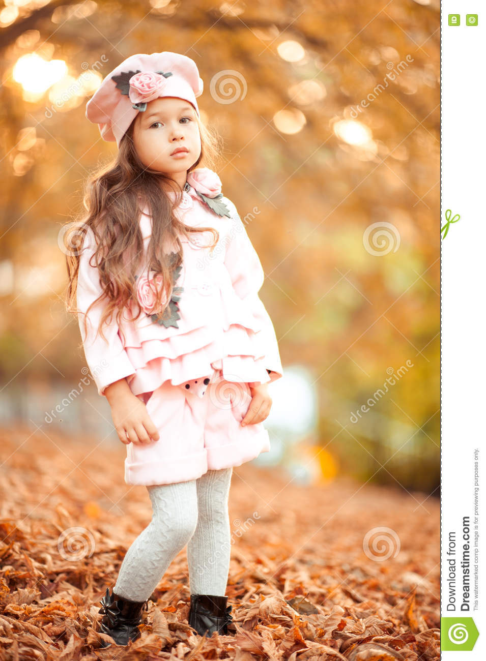f3ae9da8d10f Cute Kid Girl Wearing Autumn Clothes Outdoors Stock Image - Image of ...