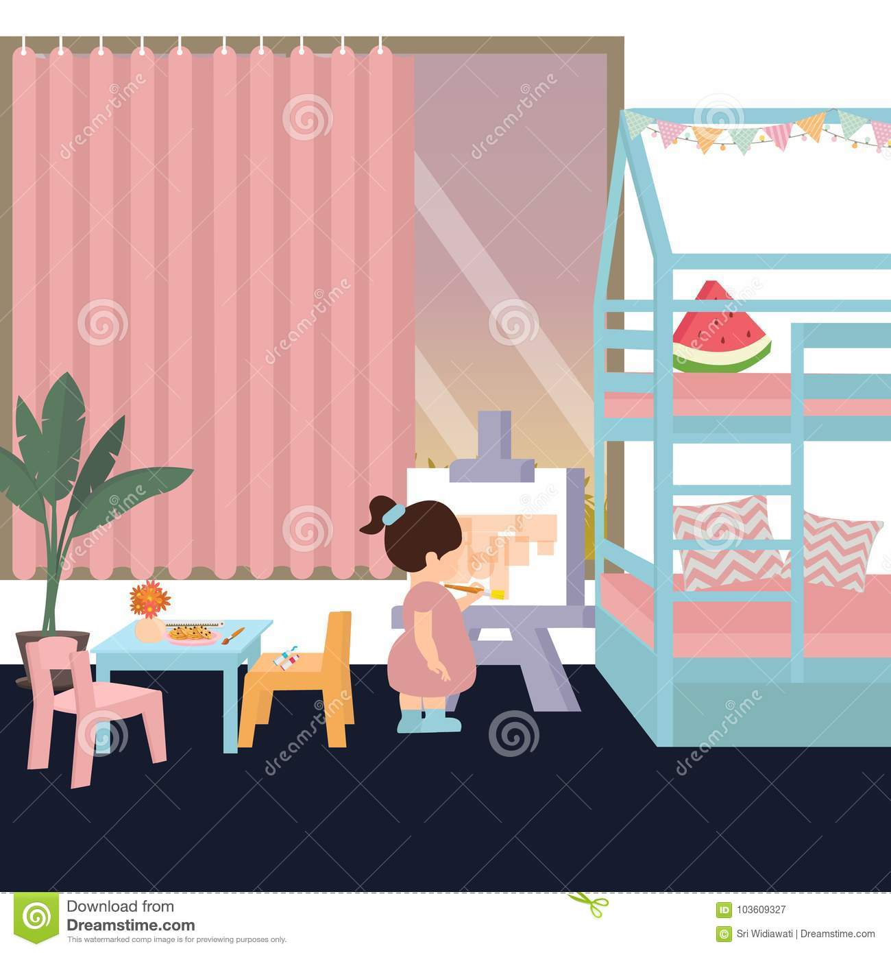 Cute kid in painting in his her bedroom play alone interior for daughter girl