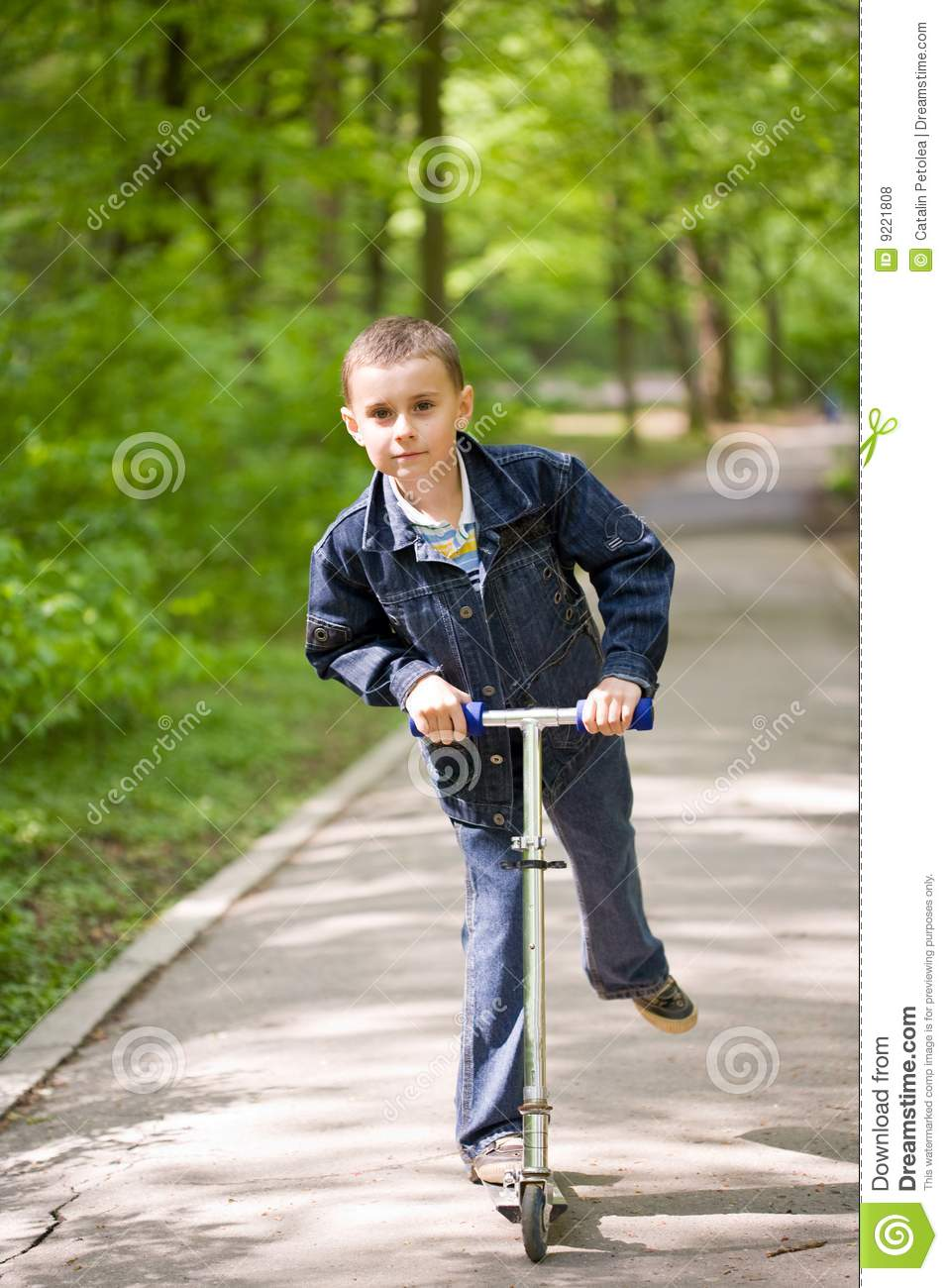 Cute Kid On Scooter Stock Photo  Image Of Childhood  Recreation
