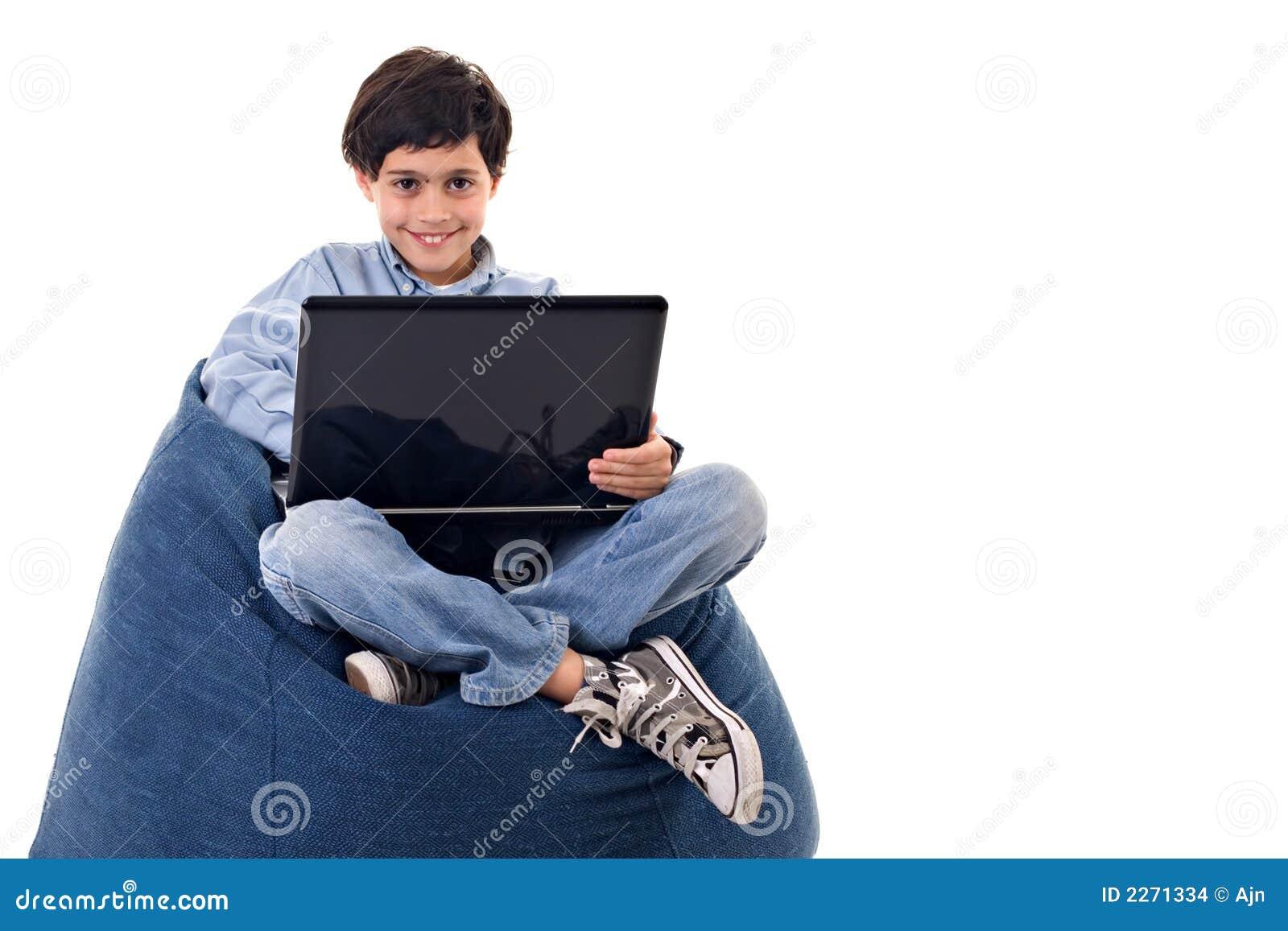 Cute kid using a notebook
