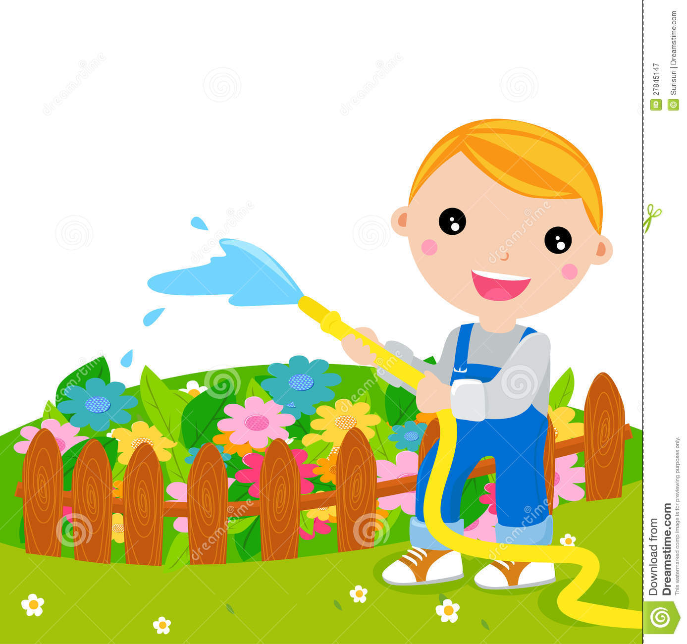 Cute Kid Watering Flower Royalty Free Stock Photography - Image ...