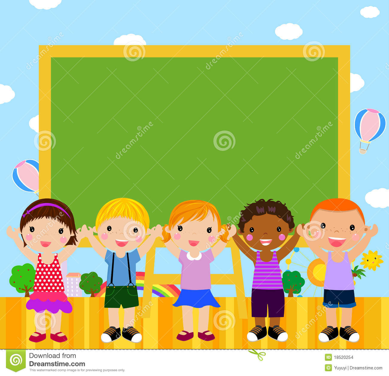 Cute Kids With Blackboard Stock Images Image 18520254