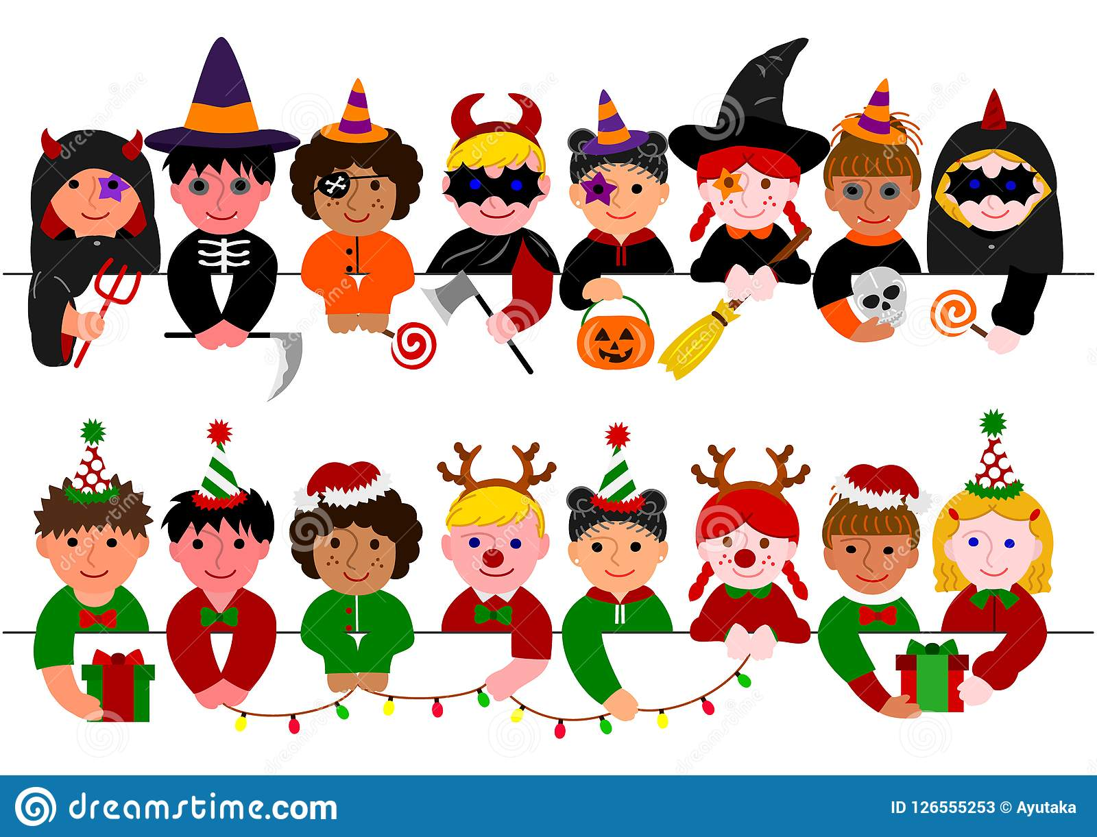 Halloween Thanksgiving Christmas Clipart.Cute Kids Border Set With Halloween Costumes And With