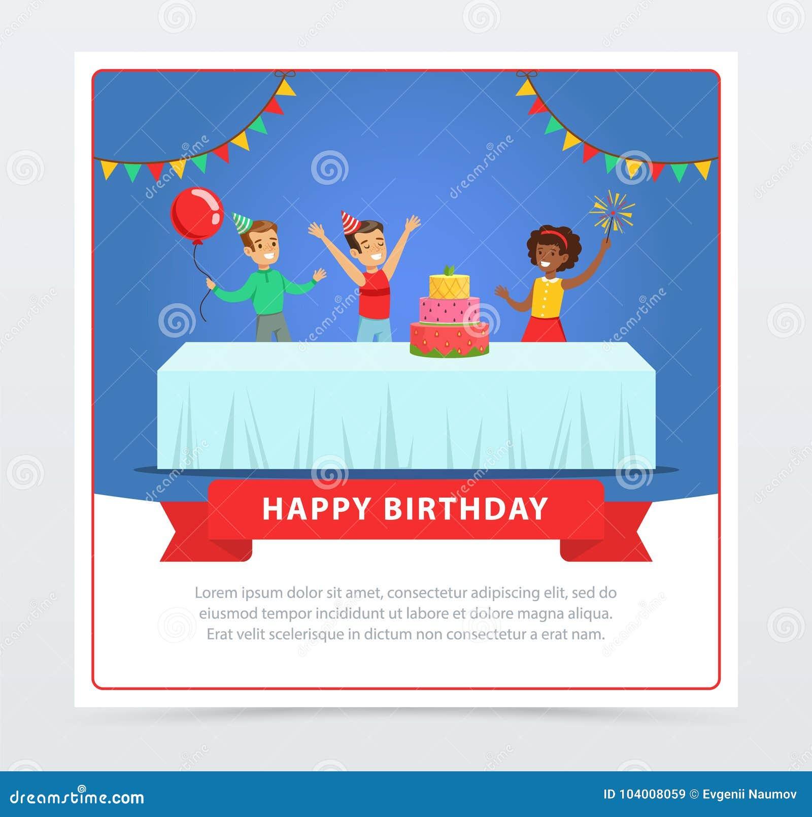 Cute Kids Celebrating Birthday With Cake, Happy Birthday