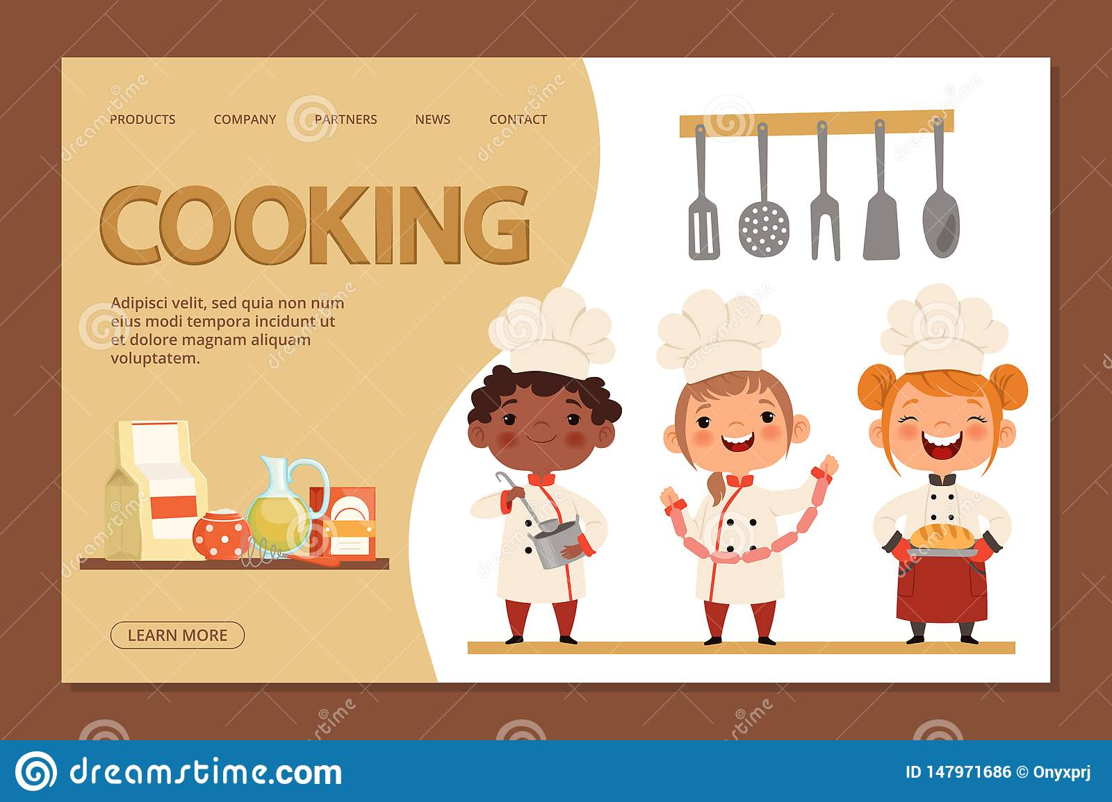 Cute Kids Chefs Cooking Landing Page Banner Template With Cartoon Character Children And Utensils Stock Vector Illustration Of Child Culinary 147971686