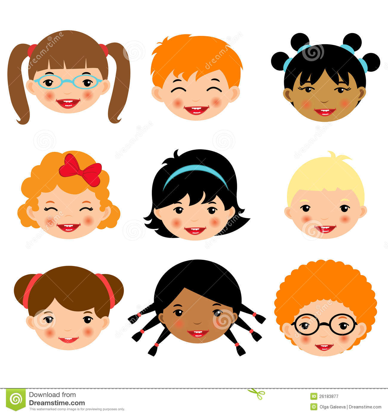 Cute Kids Faces Collection Stock Vector Illustration Of