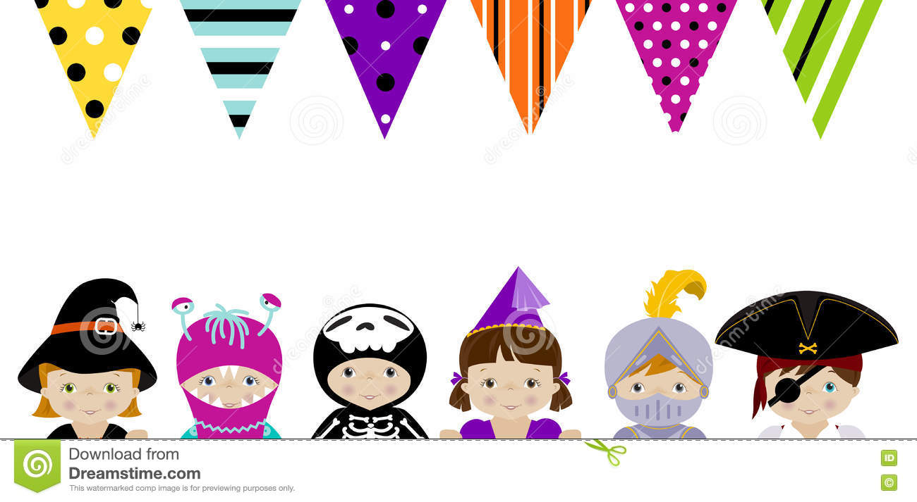 Cute Kids In Fancy Costumes Vector Border Dresses And Party Banner