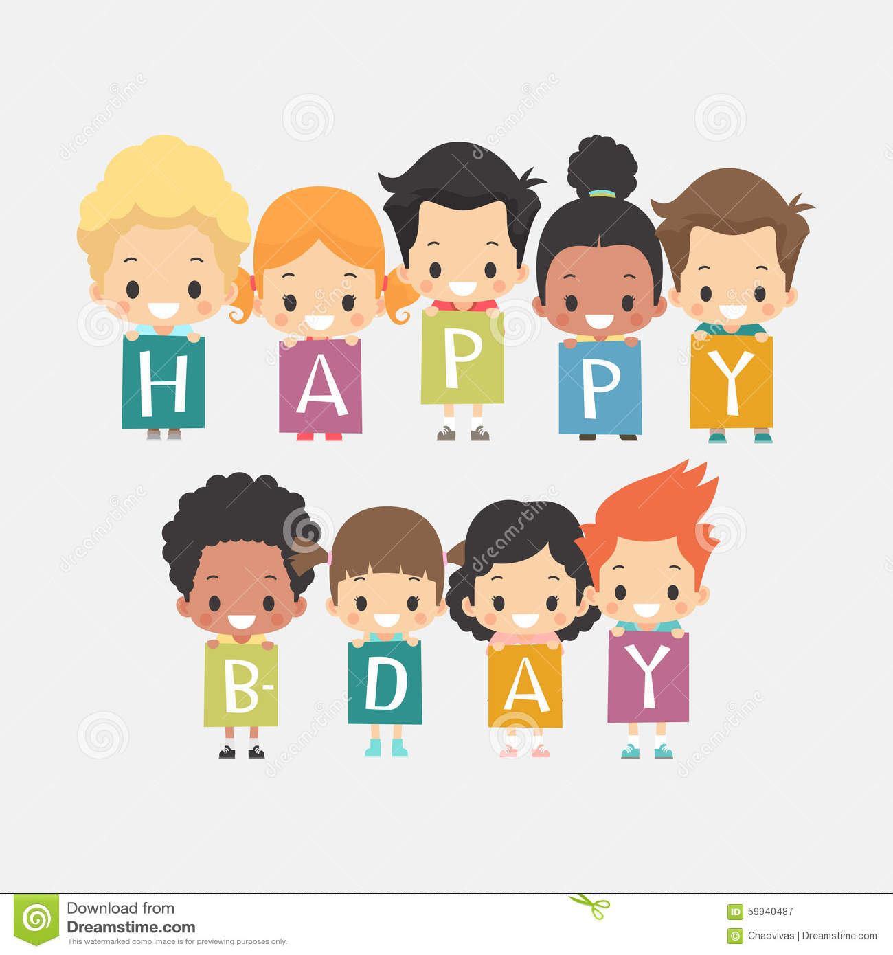 Cute Kids Happy Birthday Card Vector Image 59940487 – Happy Birthday Kids Cards