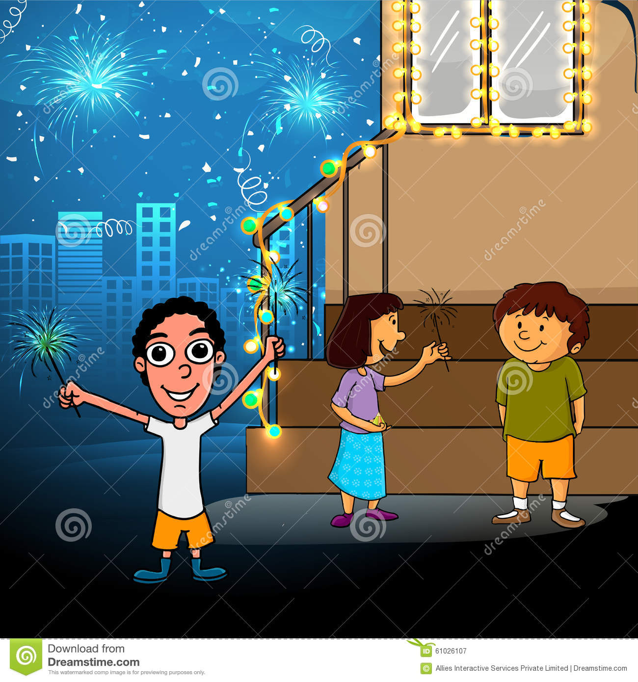 Cute Kids For Happy Diwali Celebration. Stock Illustration ... for diwali animation for kids  10lpwja