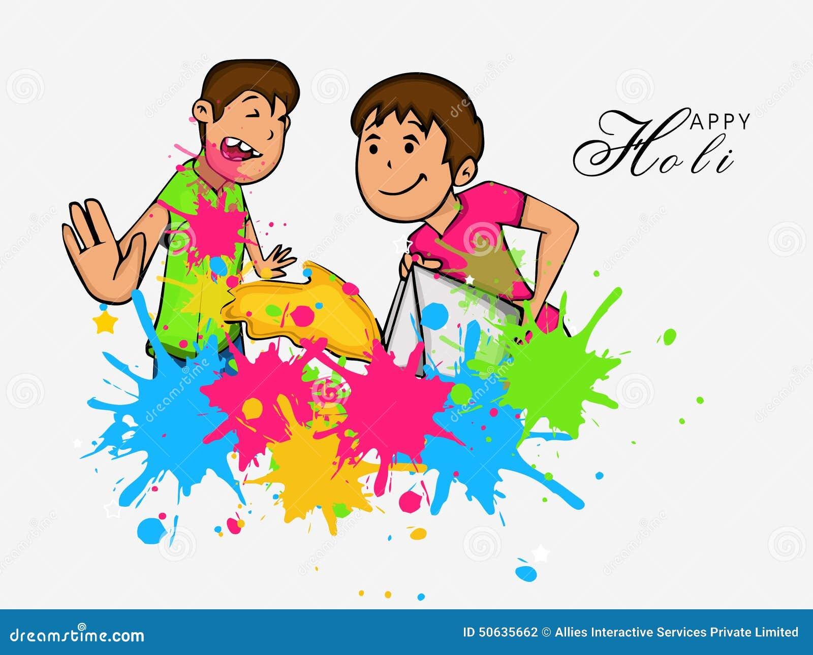 Cute Kids For Happy Holi Festival Celebration Stock