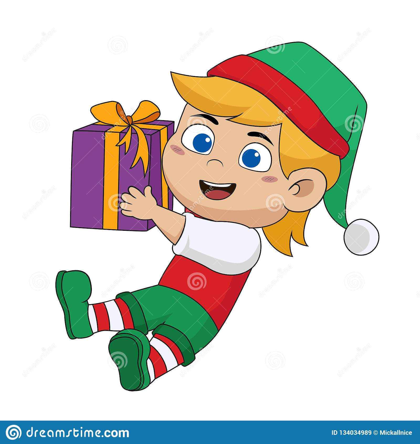 Christmas Day Clipart.Cute Kids Holding A Big Gift From Santa In Christmas Day
