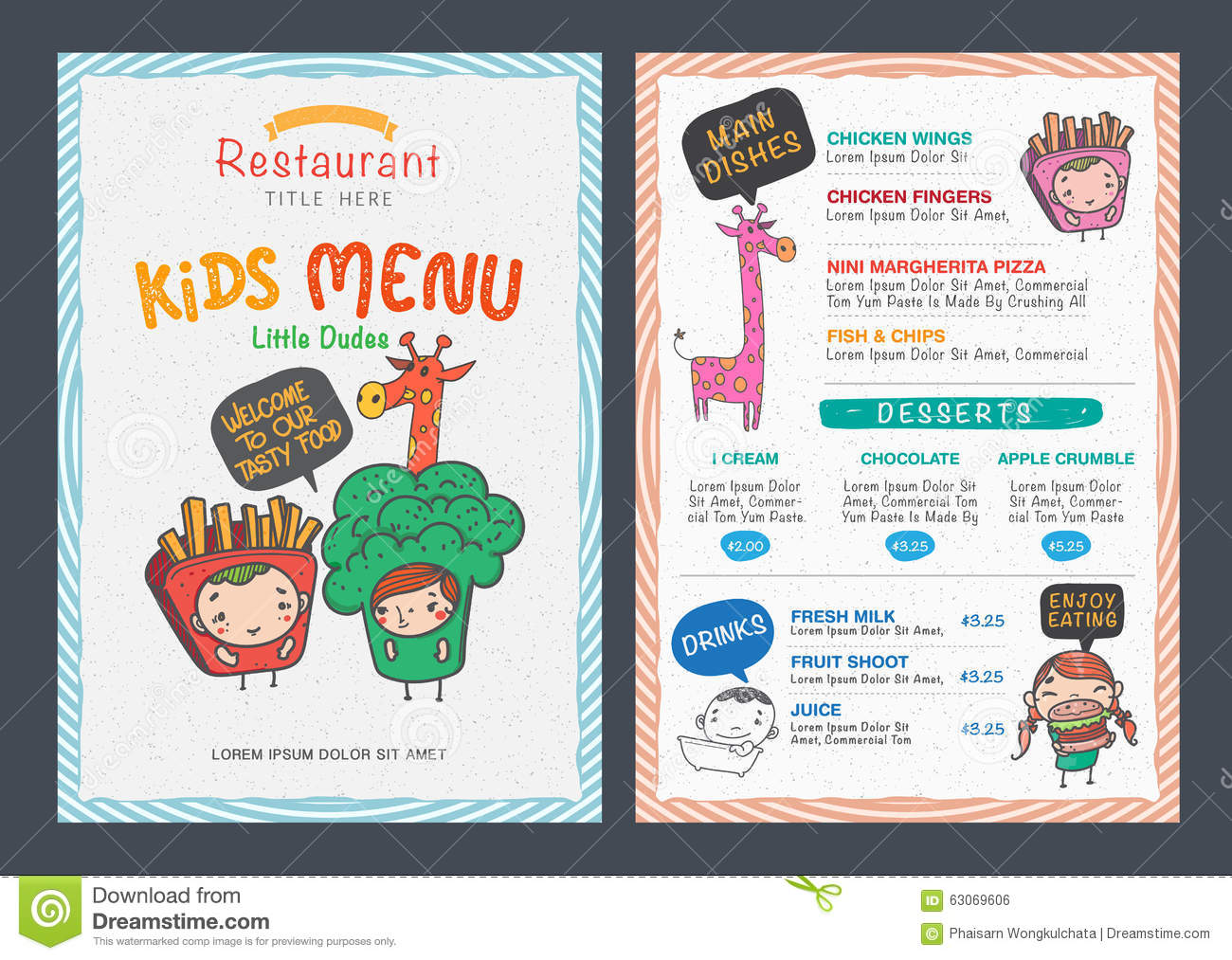 free kids menu templates – Free Kids Menu Templates