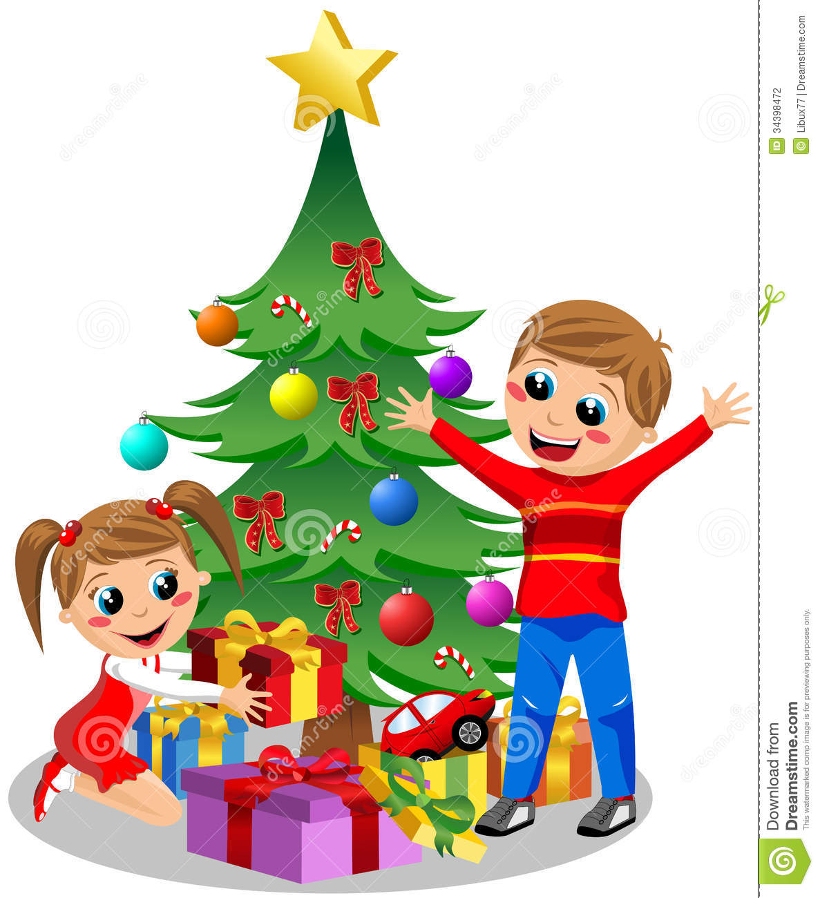 Free Clipart Christmas Tree With Presents