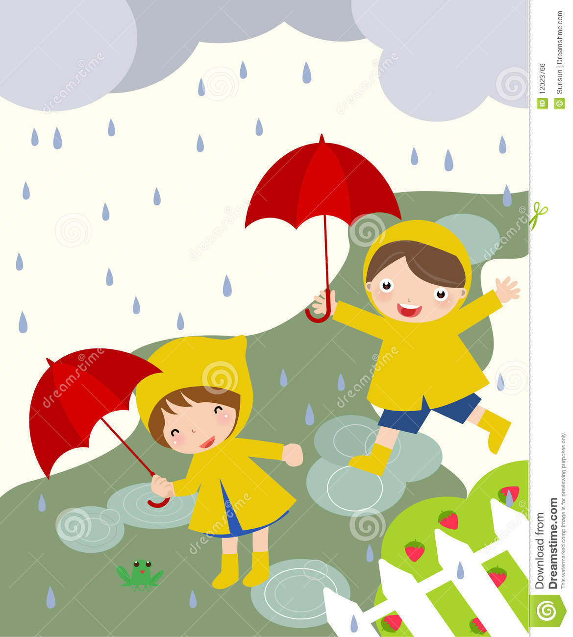 Cute Kids Playing In The Rain Royalty Free Stock Image ...