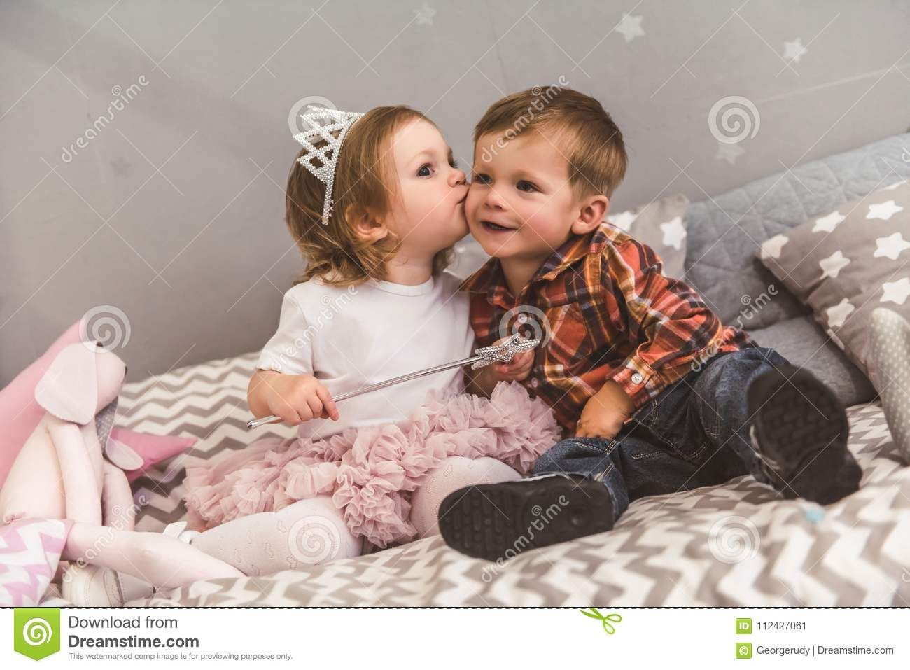 cute couple of kids stock image. image of child, cheek - 112427061