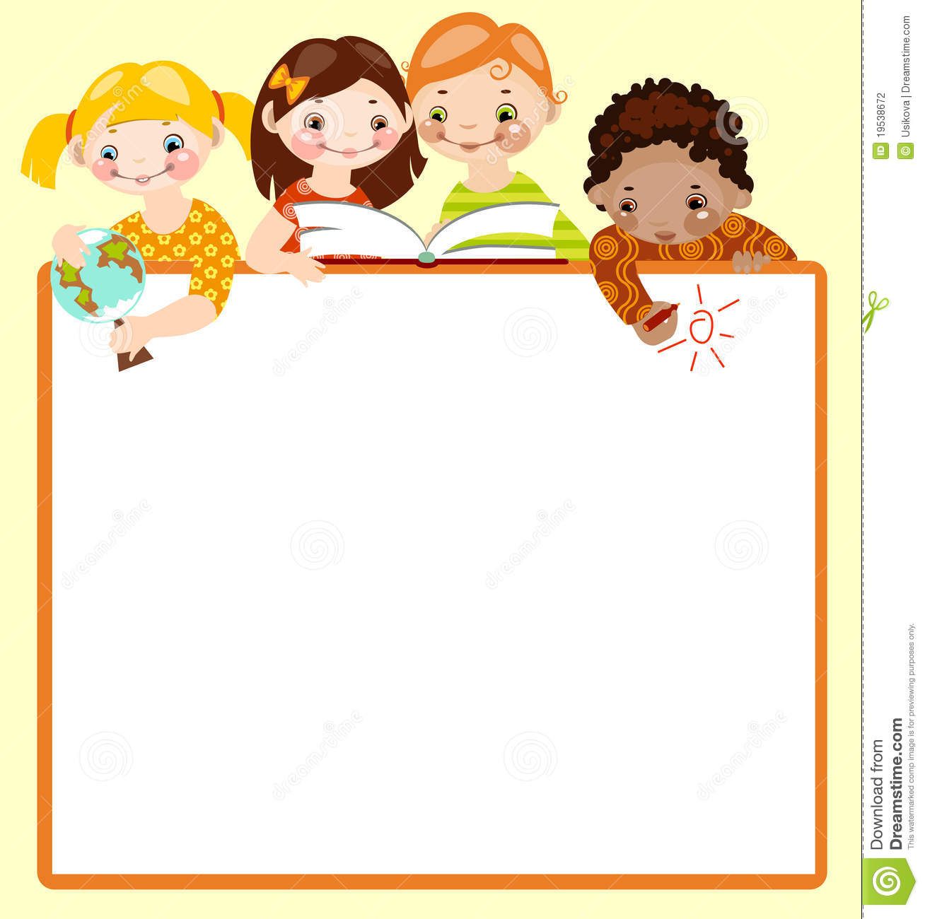 Cute kids read and draw. stock vector. Illustration of ...