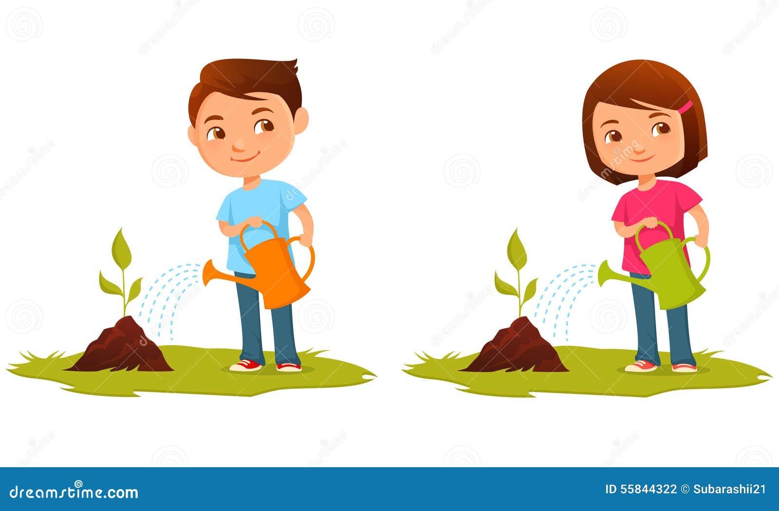 cute kids watering plants stock vector image 55844322