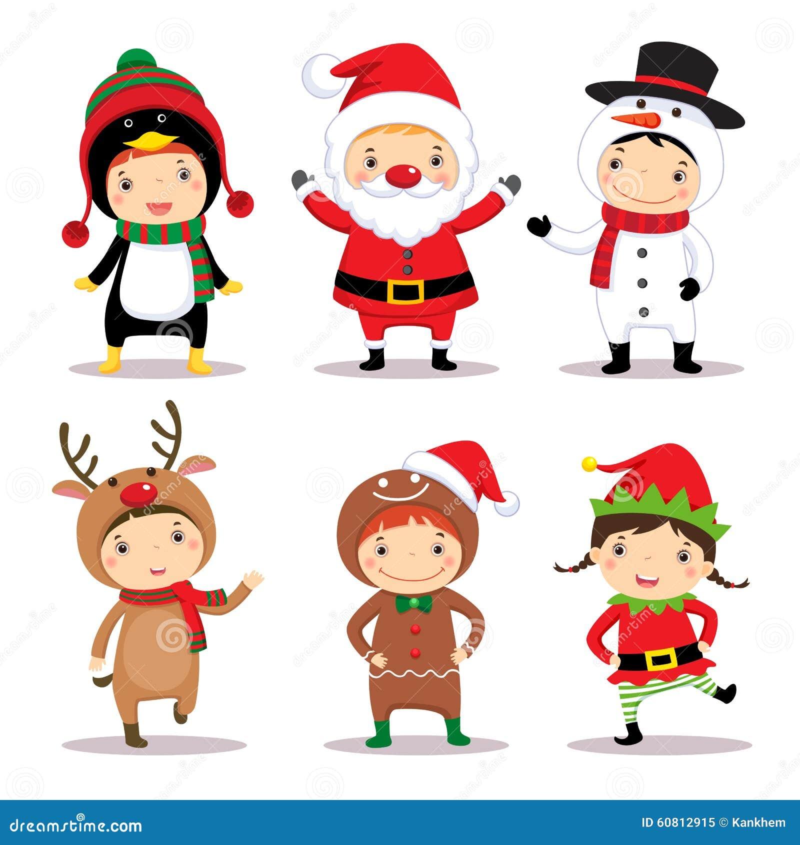 Cute Kids Wearing Christmas Costumes Stock Vector