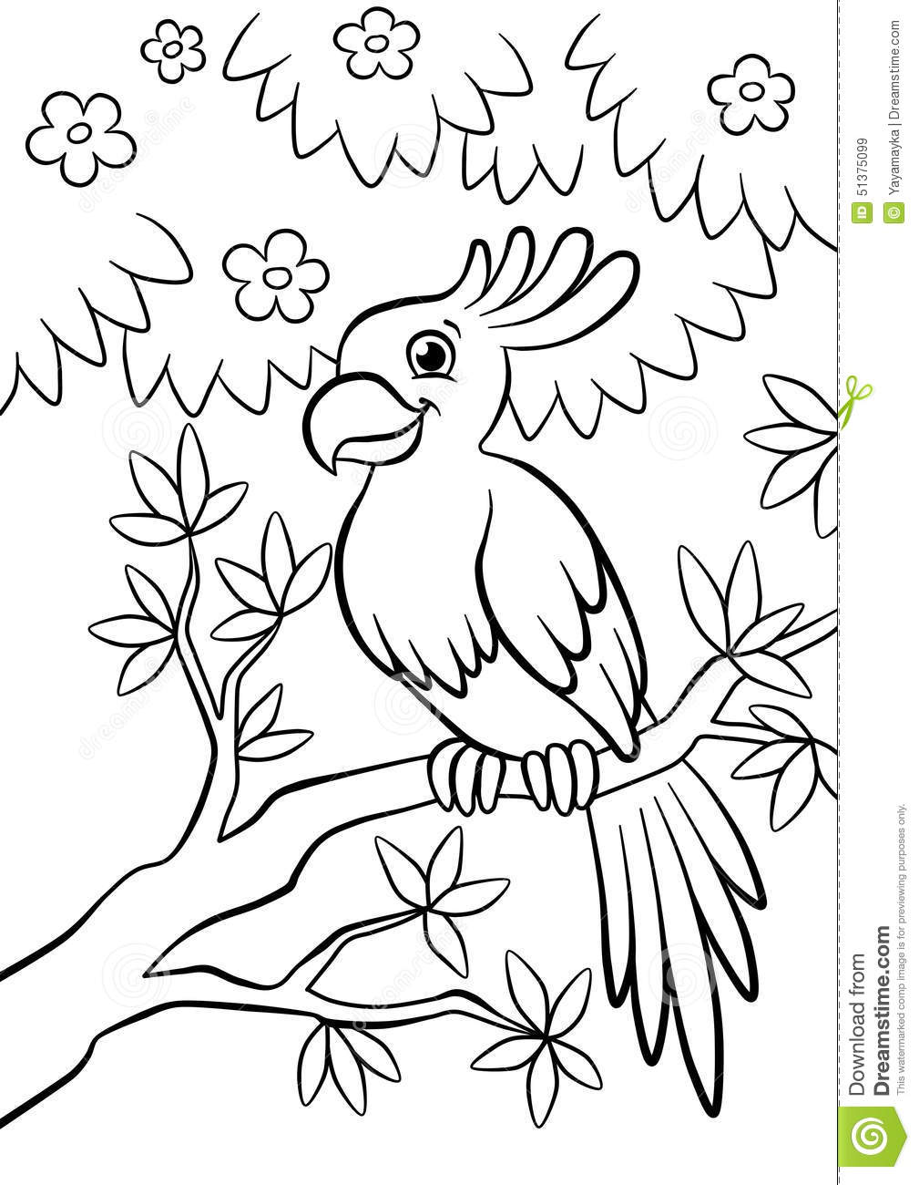 cute kind parrot sitting on the flowered tree in the forest stock illustration illustration of. Black Bedroom Furniture Sets. Home Design Ideas