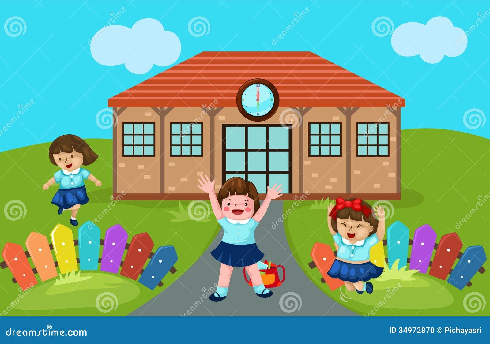Home Design Game Id Cute Kindergarten At School Stock Vector Illustration Of