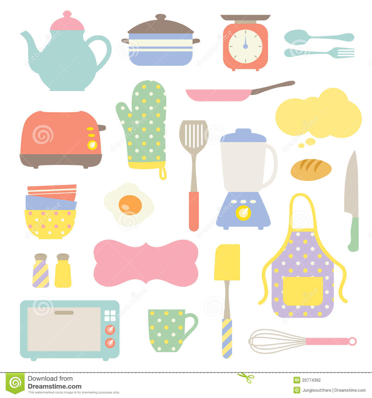 Kitchen utensils clip art pan - Cute Kitchen Collection Stock Photography Image 20774392