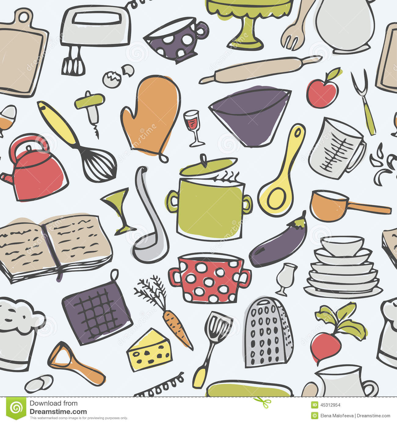 Cute Kitchen Cute Kitchen Pattern Stock Images Image 30637834