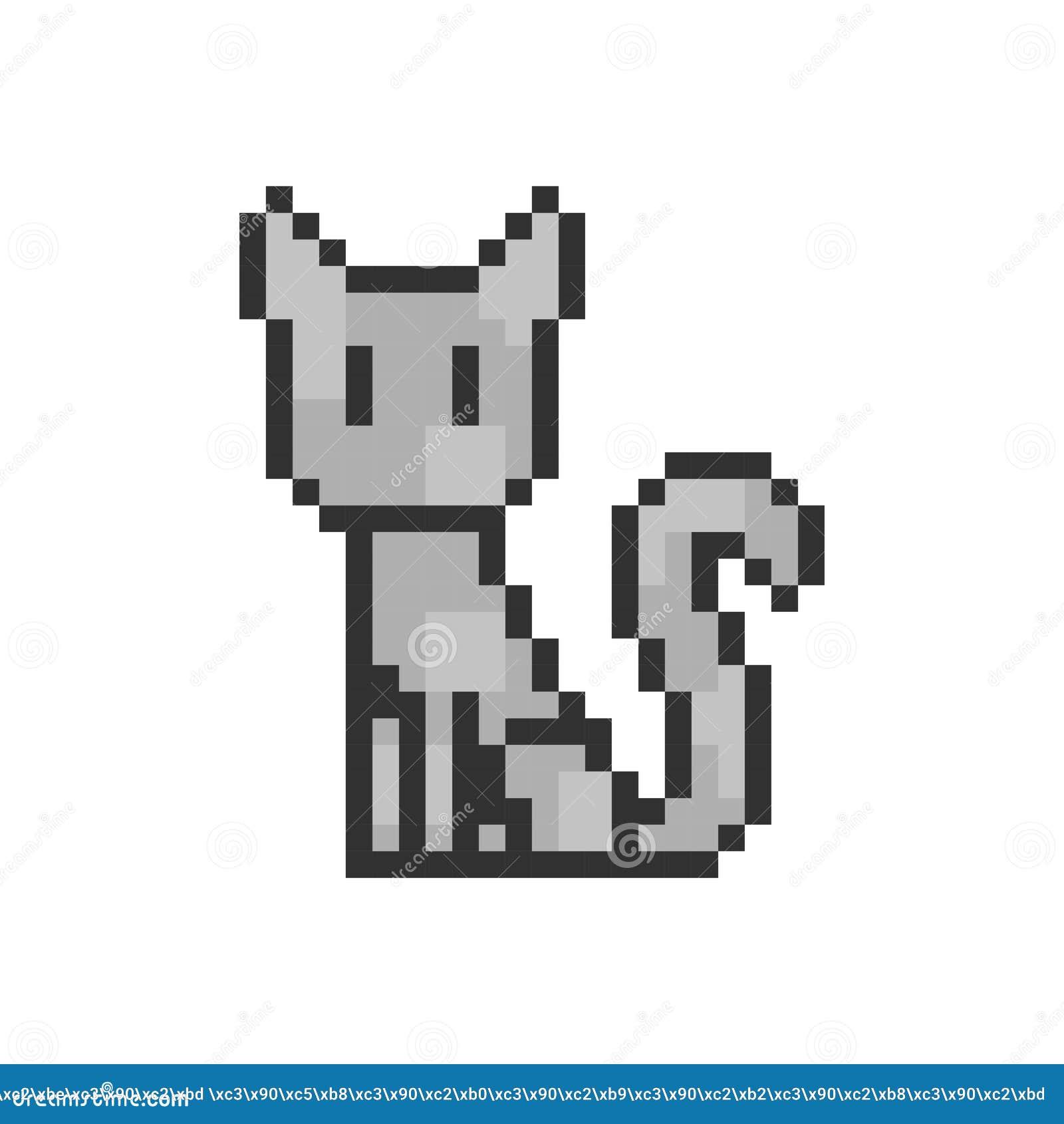 Cute Kitten Domestic Pet Pixel Art Isolated Vector