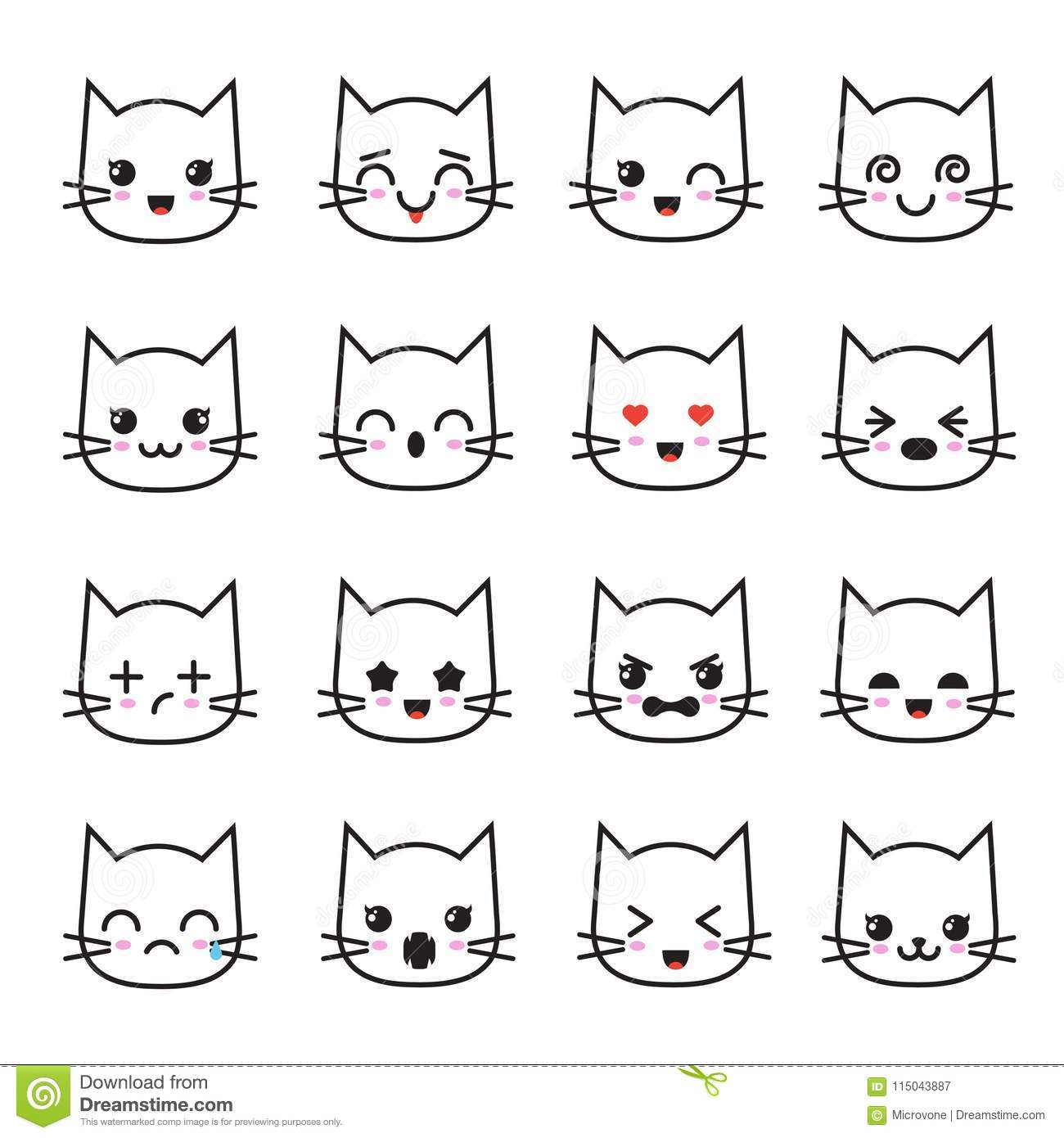 4d761267a Cute kitten kawaii emoticon collection. Funny white cat emoji vector avatars