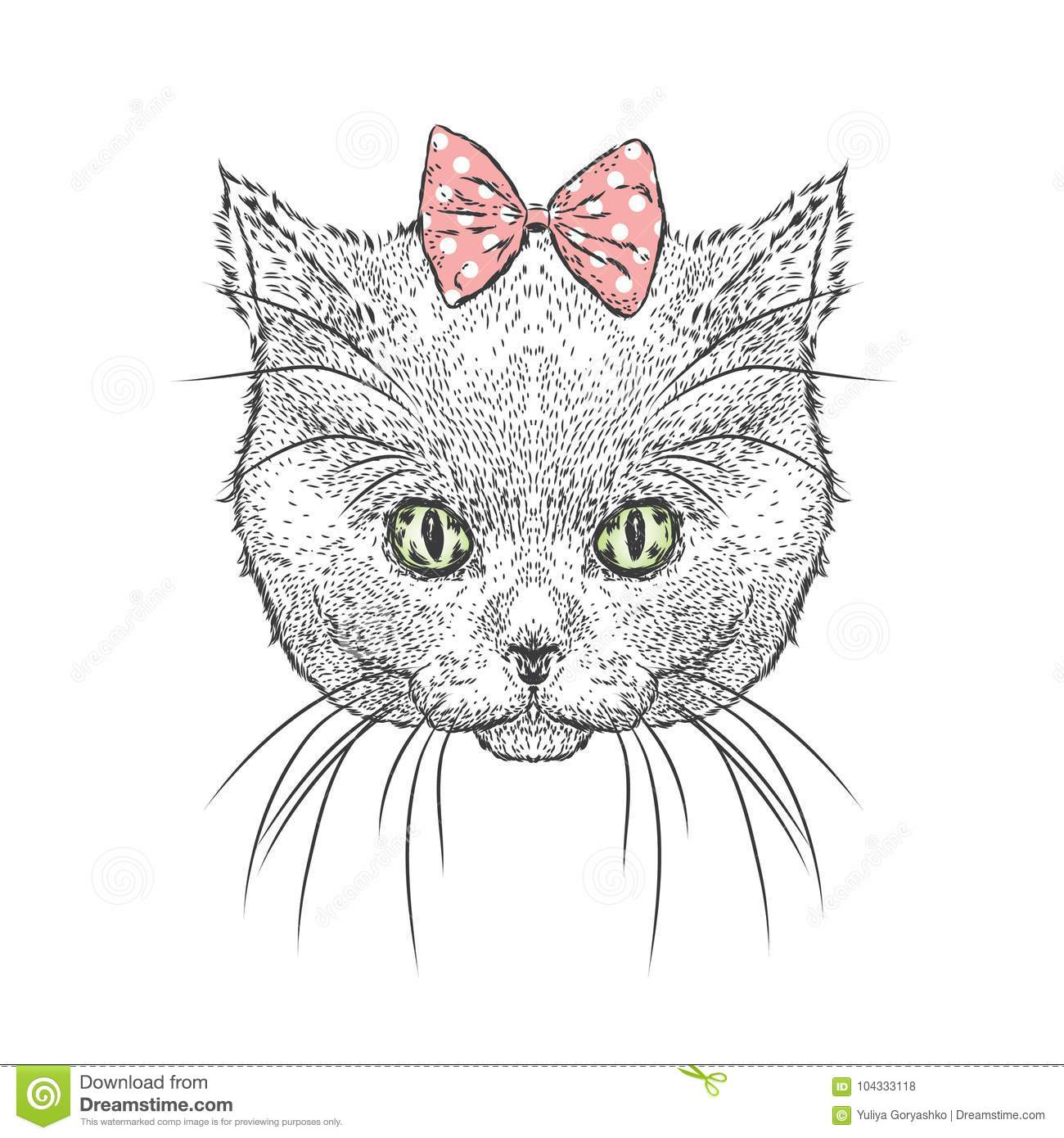 cute kitten wearing glasses and a bow vector illustration drawing
