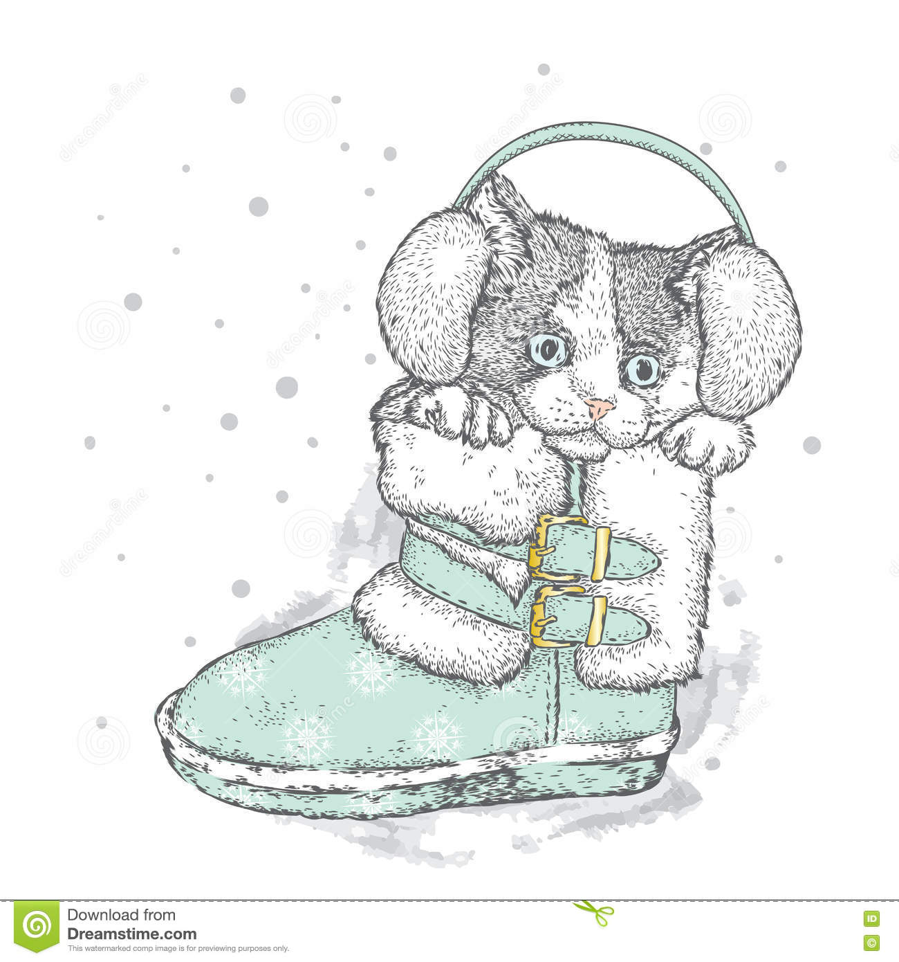 Christmas Boots Drawing.Cute Kitten In Winter Boots Christmas And New Year Stock