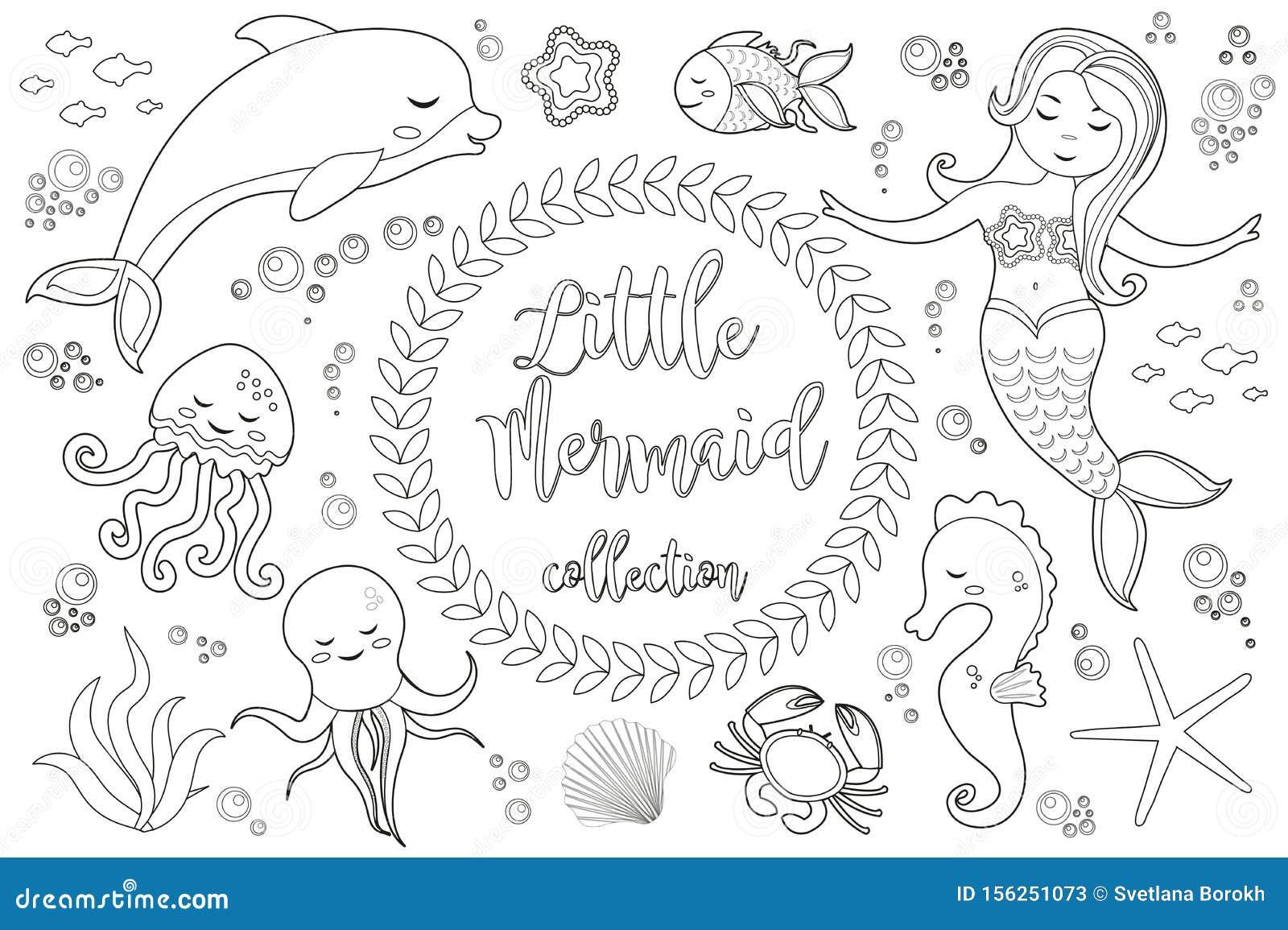 cute kleine meerjungfrau und unterwasserwelt set coloring