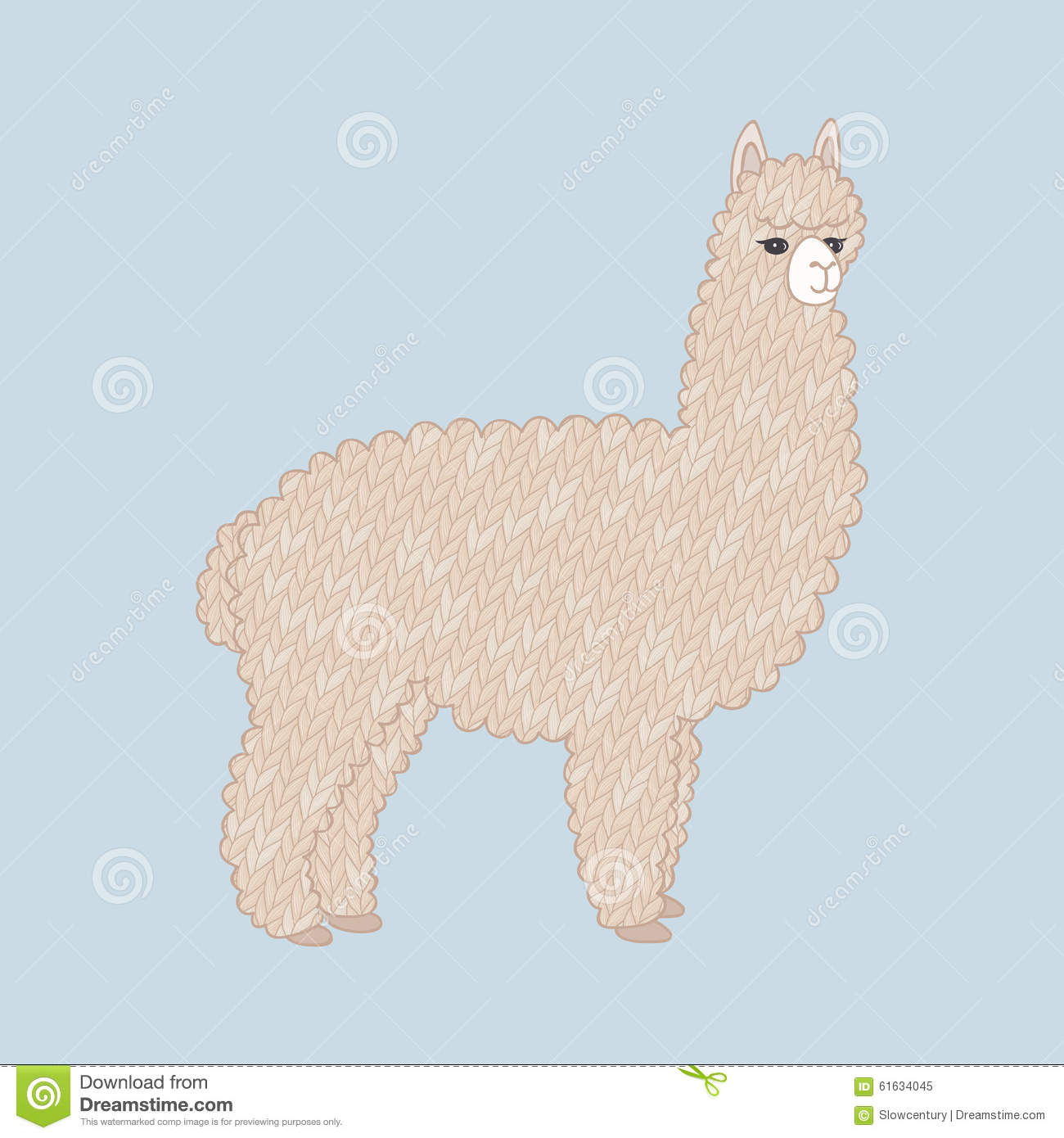 Cute Knitted Alpaca Stock Vector - Image: 61634045