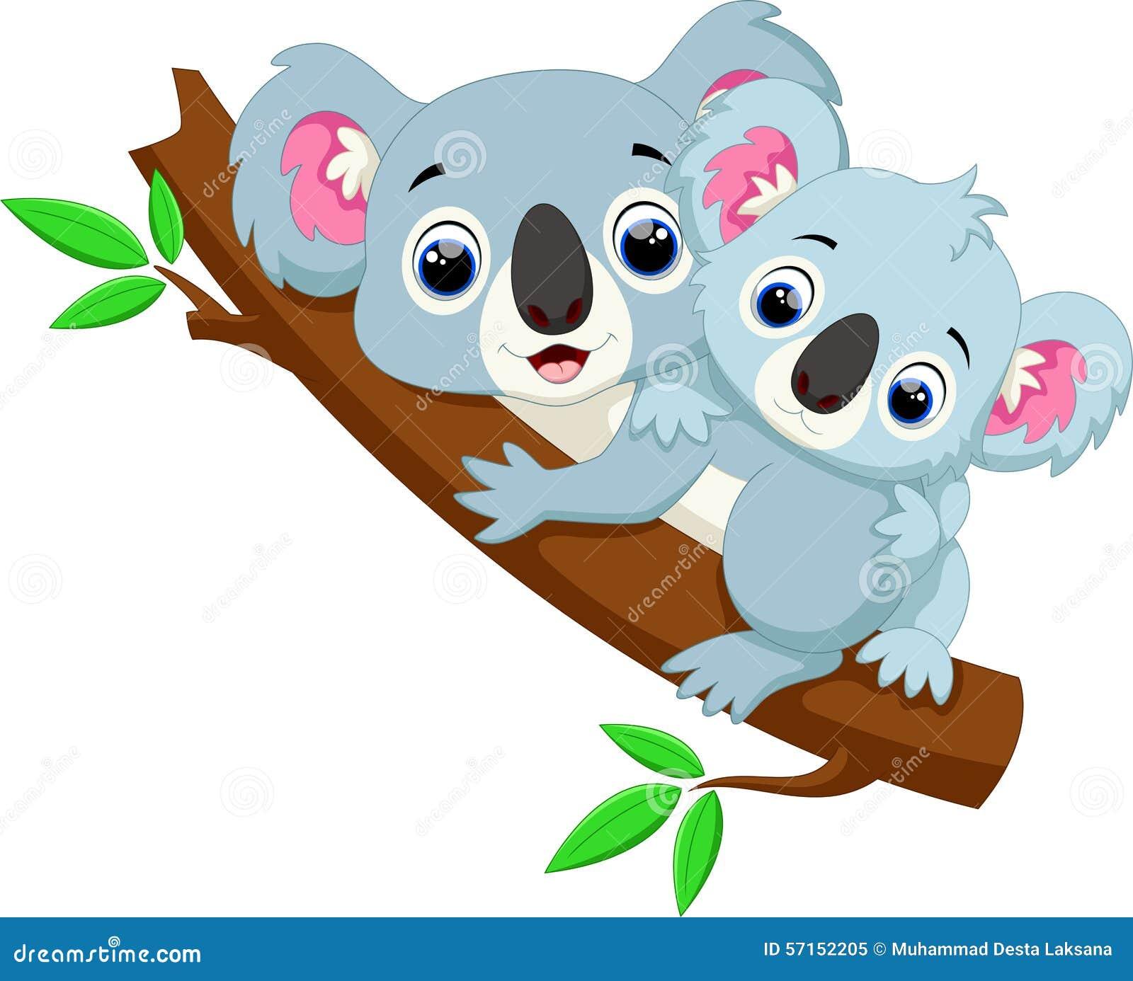 Cute Koala Cartoon On A Tree Stock Illustration ...