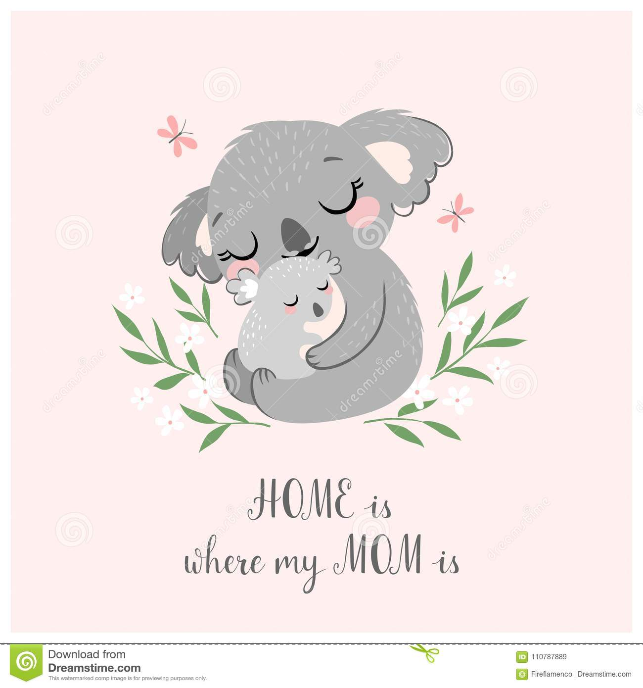 Cute Koala Mom And Baby Stock Vector Illustration Of Infant 110787889