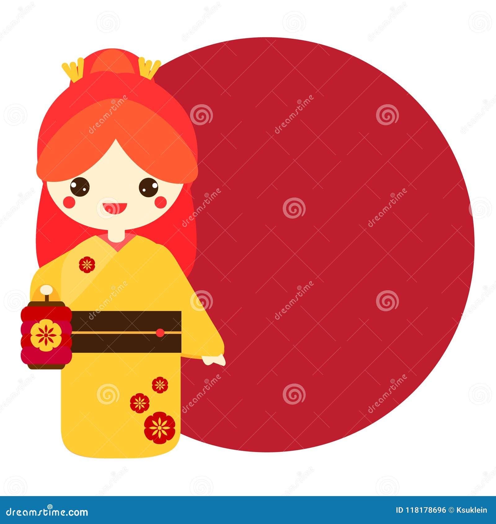 Cute Kokeshi Traditional Japanese Doll Holding Lantern Stock Vector