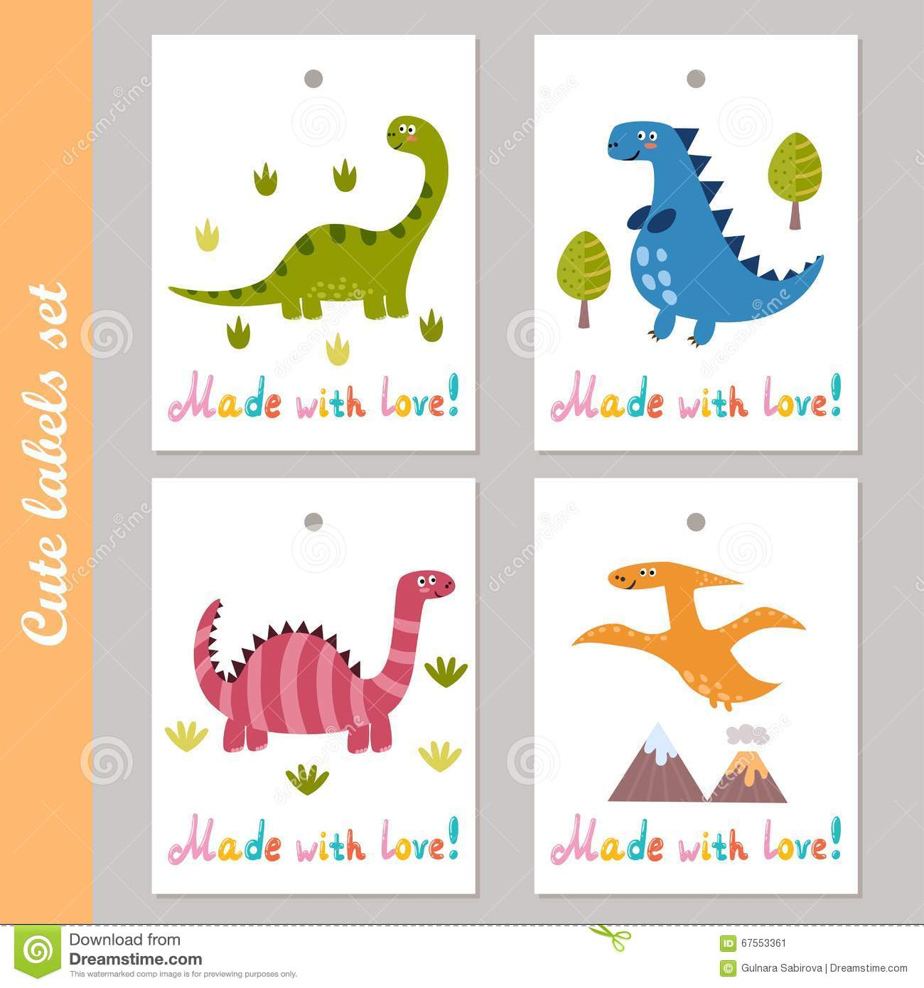 Cute Labels Set With Funny Dinosaurs Stock Vector Image