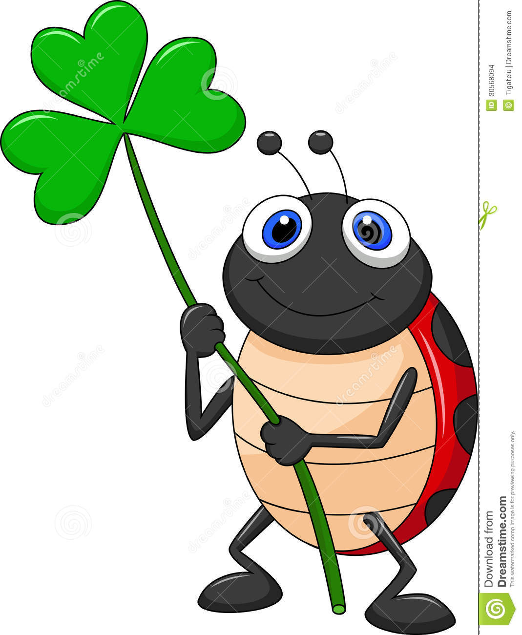 Cute Ladybug Cartoon With Clover Leaf Stock Images - Image: 30568094