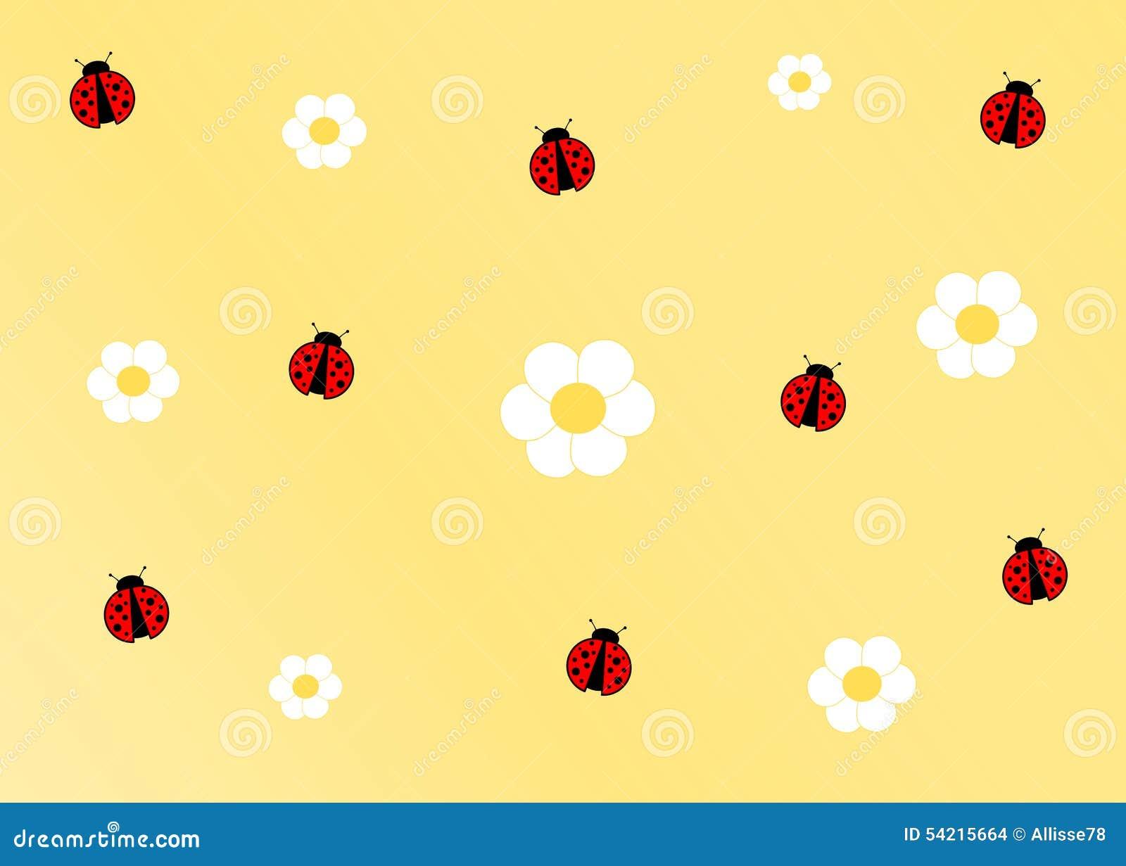 Cute ladybug yellow cartoon background illustration 54215664 megapixl cute ladybug yellow cartoon background izmirmasajfo