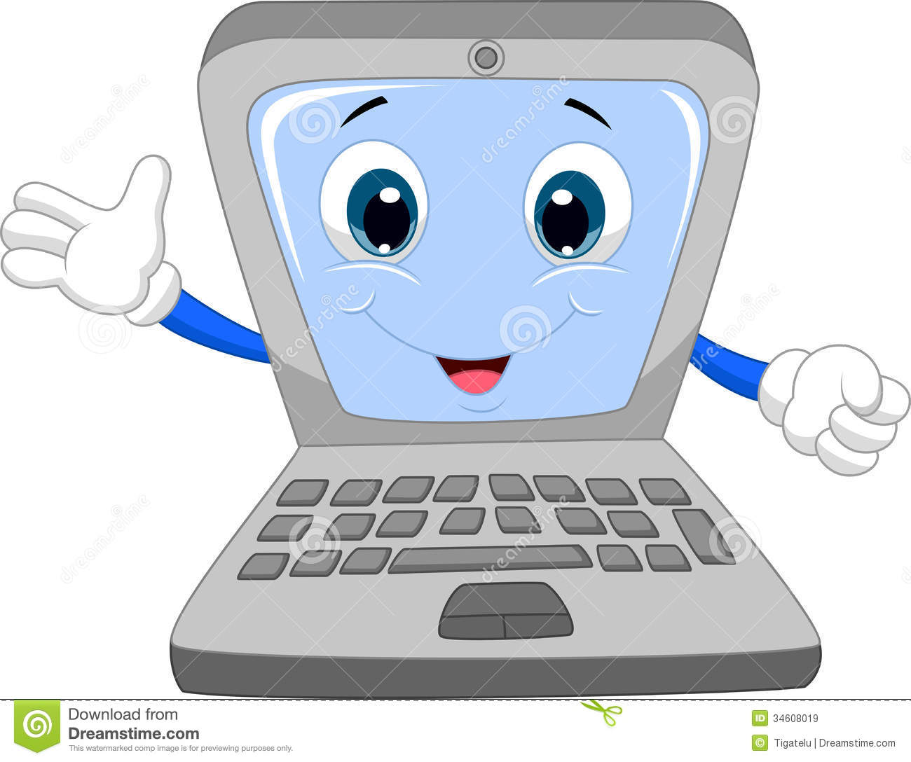 Cute Laptop Cartoon Waving Hand Royalty Free Stock Images - Image ...