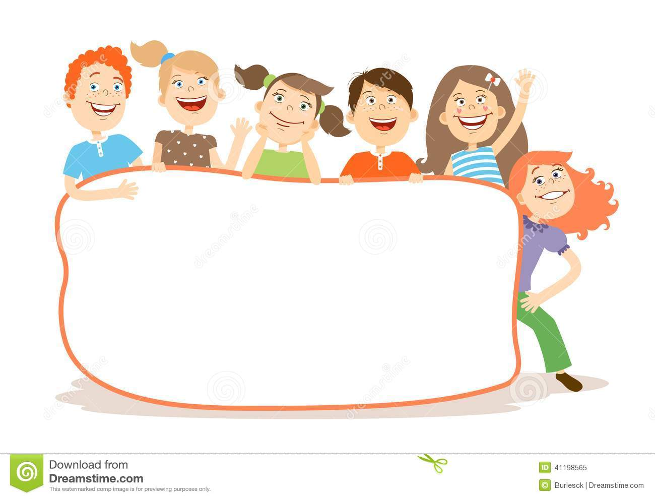 Cute Laughing Kids Around A Placard With Copyspace Stock