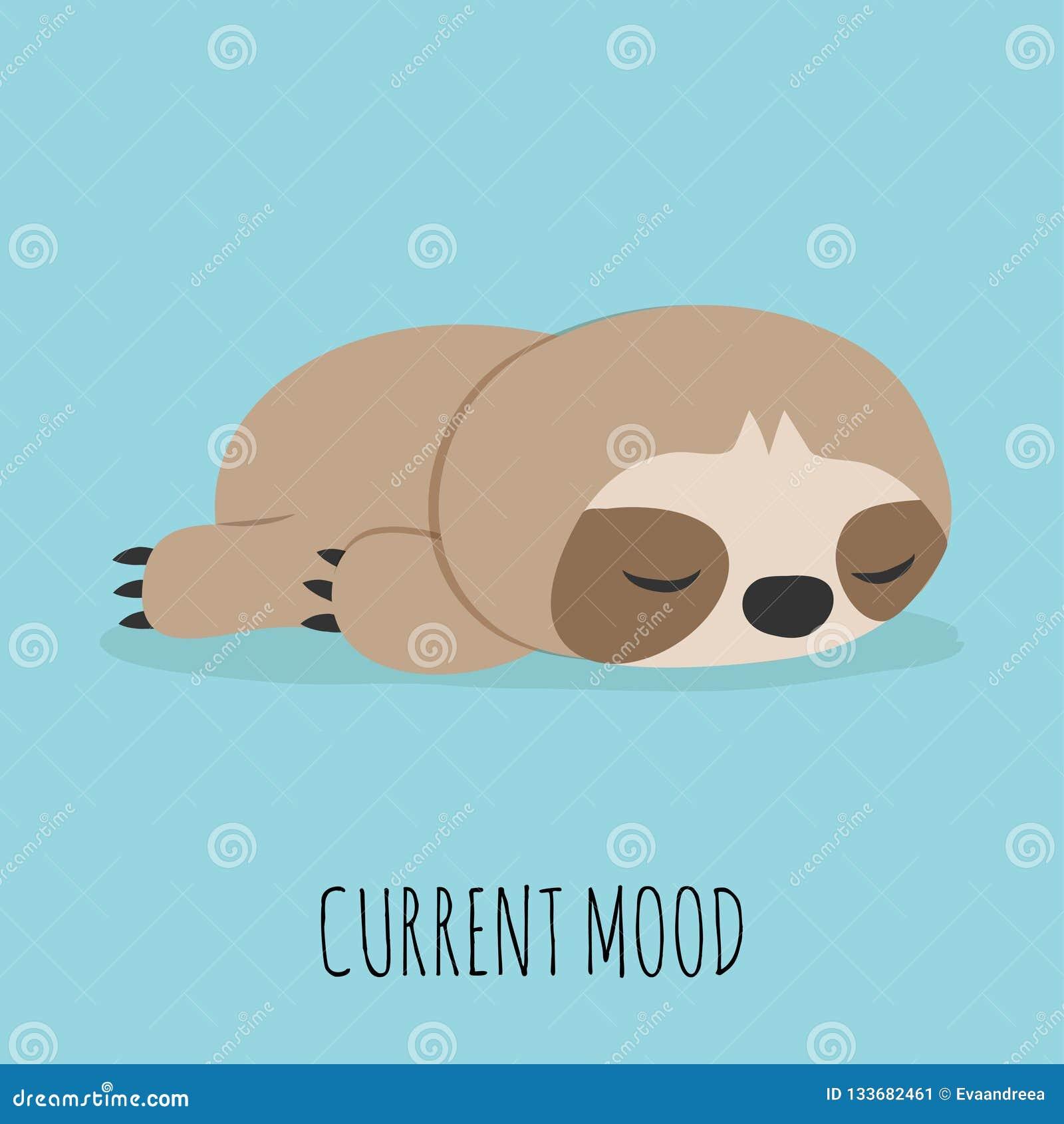Cute lazy sloth