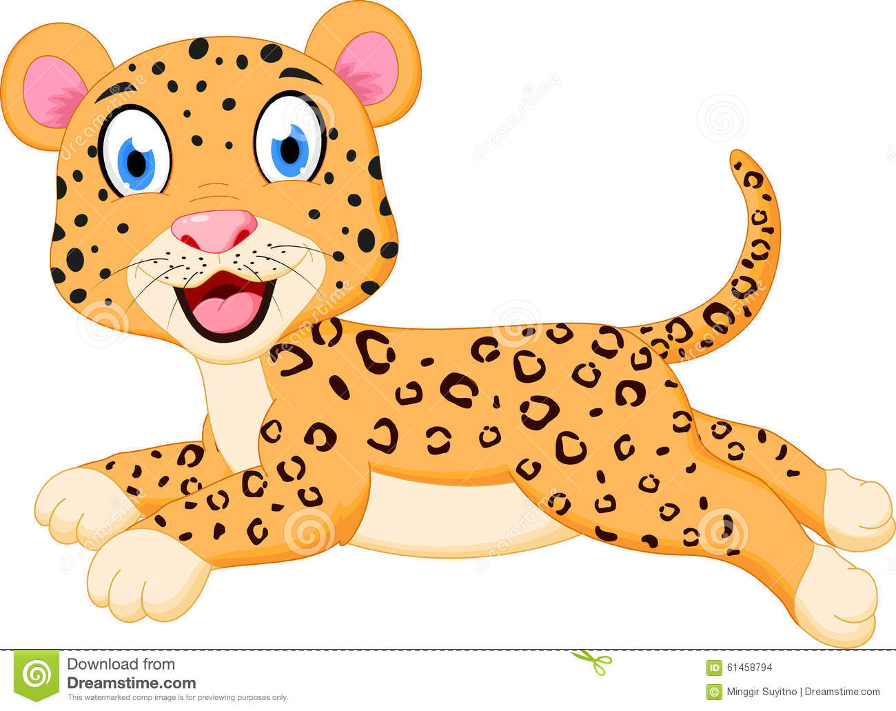 Illustration of Cute leopard cartoon jumping isolated on white.