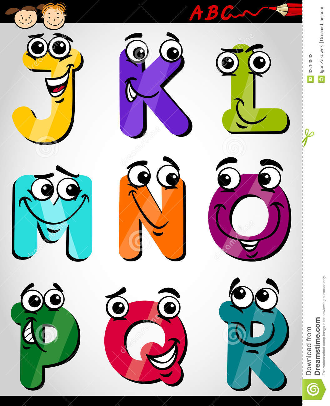 Cartoon Characters Letter Z : Cute letters alphabet cartoon illustration stock vector