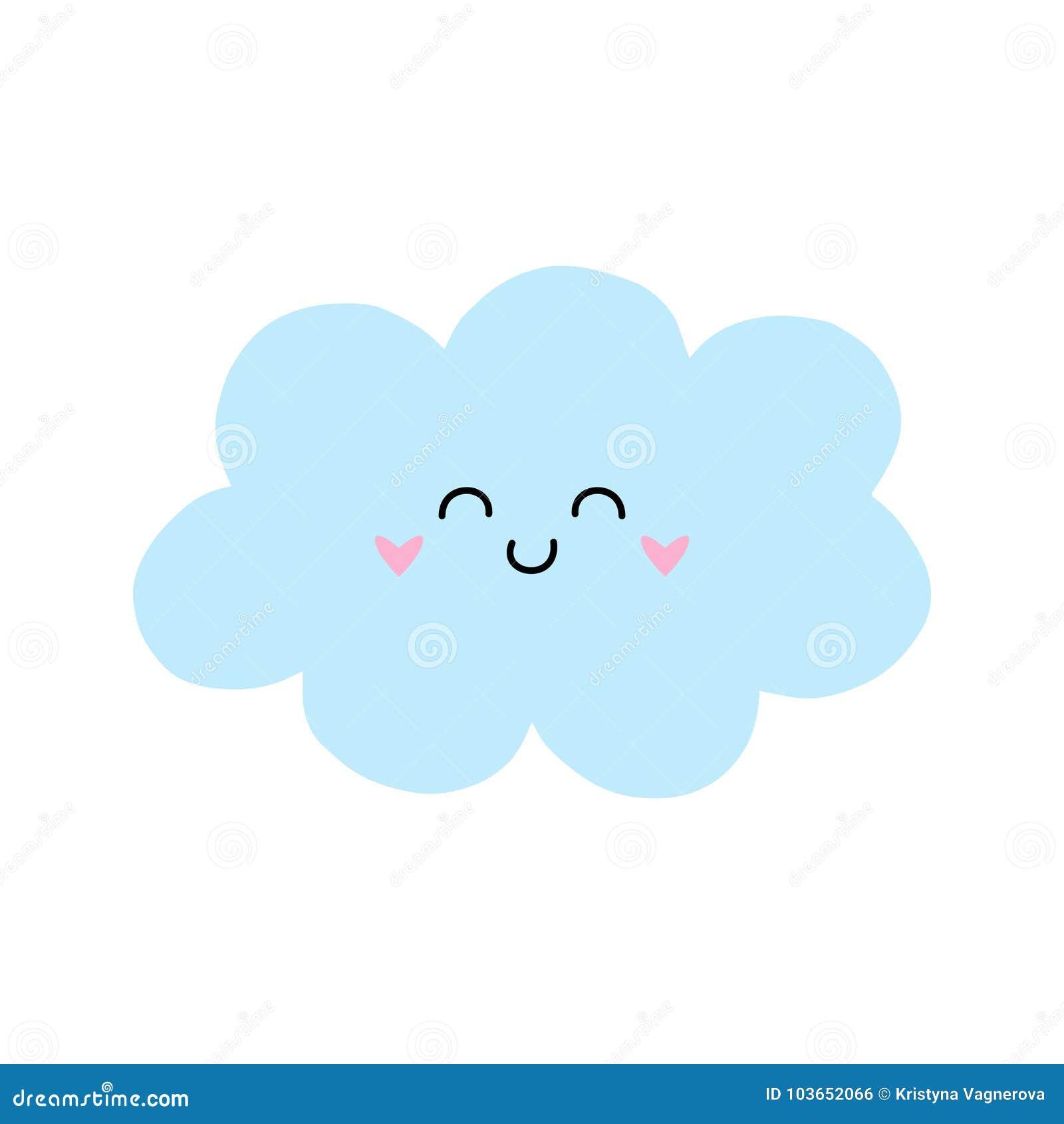 cute light blue cloud vector stock vector illustration of fluffy