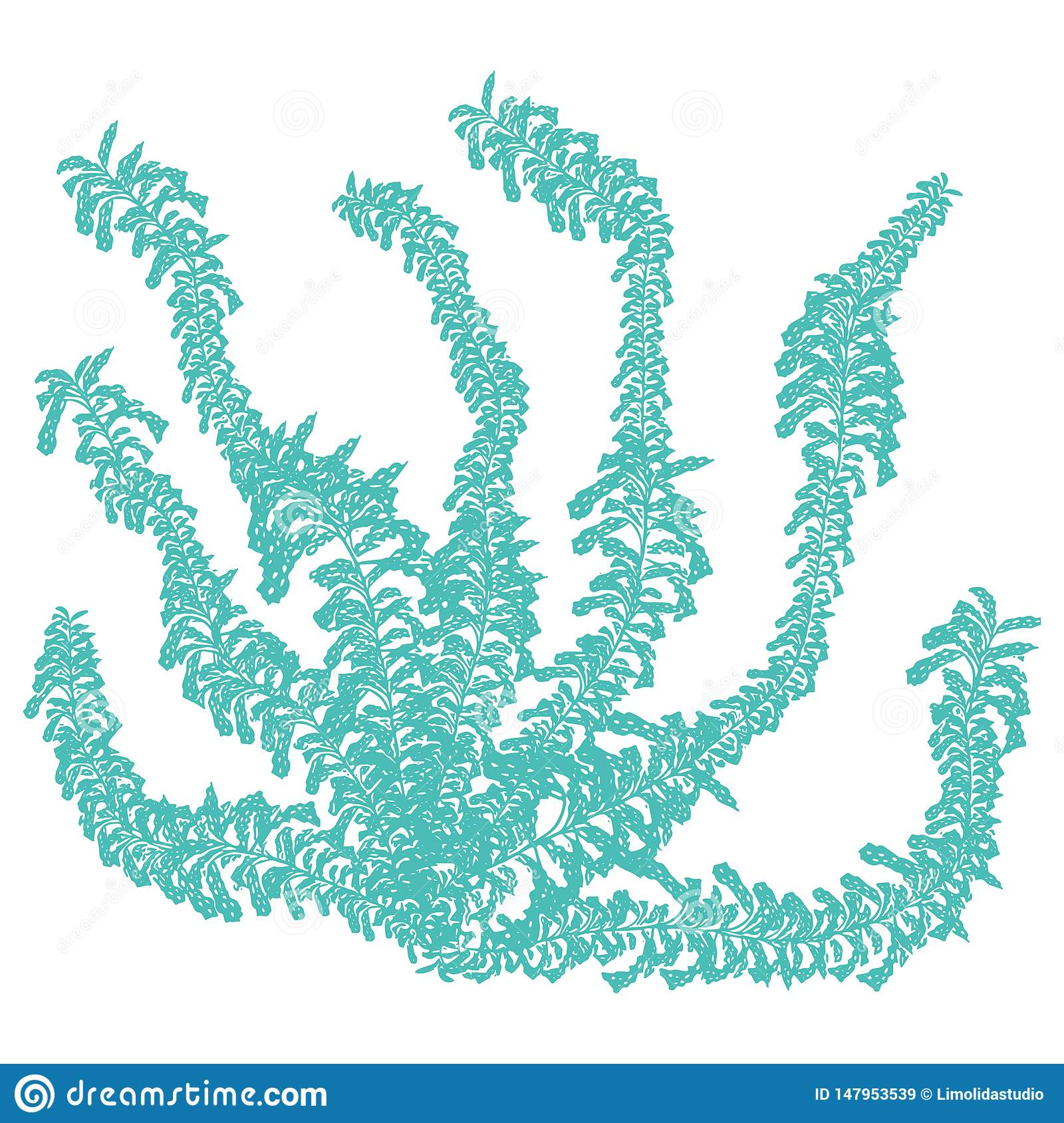 Cute light blue underwater seaweed cartoon vector illustration motif set. Hand drawn isolated coral reef elements clipart for