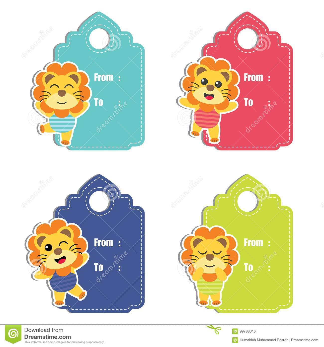 Cute Lion Boys On Colorful Background Cartoon Illustration For Birthday Gift Tag Design